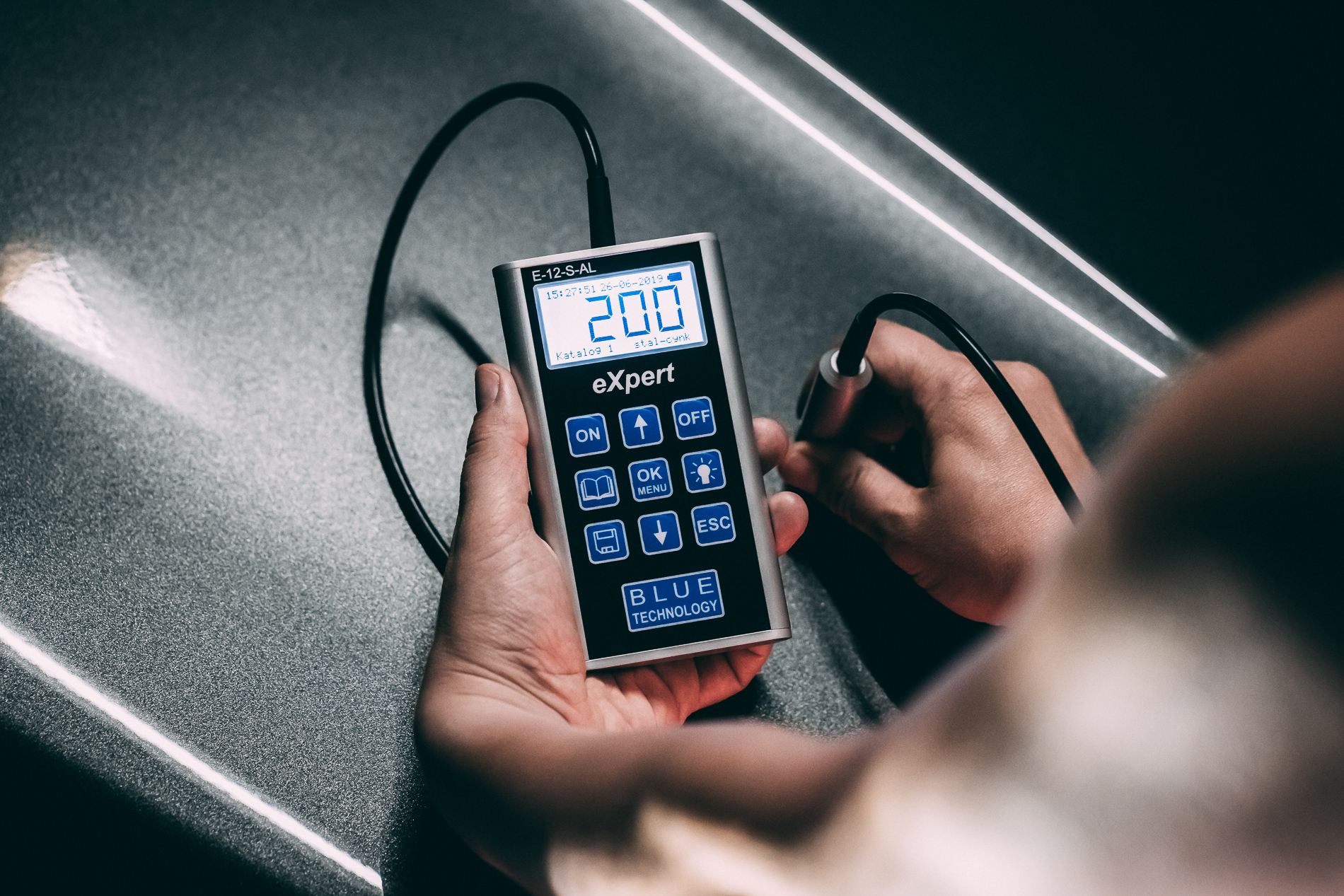 Test miernika grubości lakieru Blue Technology E-12-S-AL eXpert