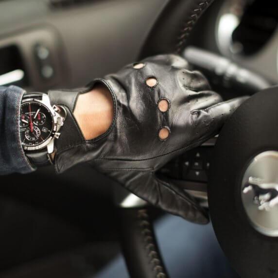 Rękawiczki samochodowe skórzane dotykowe